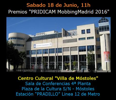 """Premios """"PRIDICAM MobbingMadrid 2016"""""""